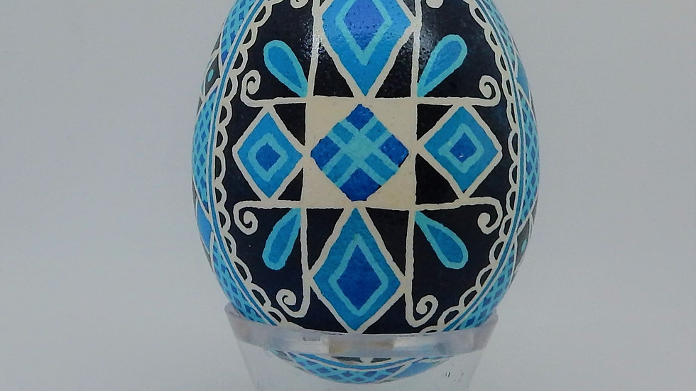 Blue Cross Chicken Egg Pysanky