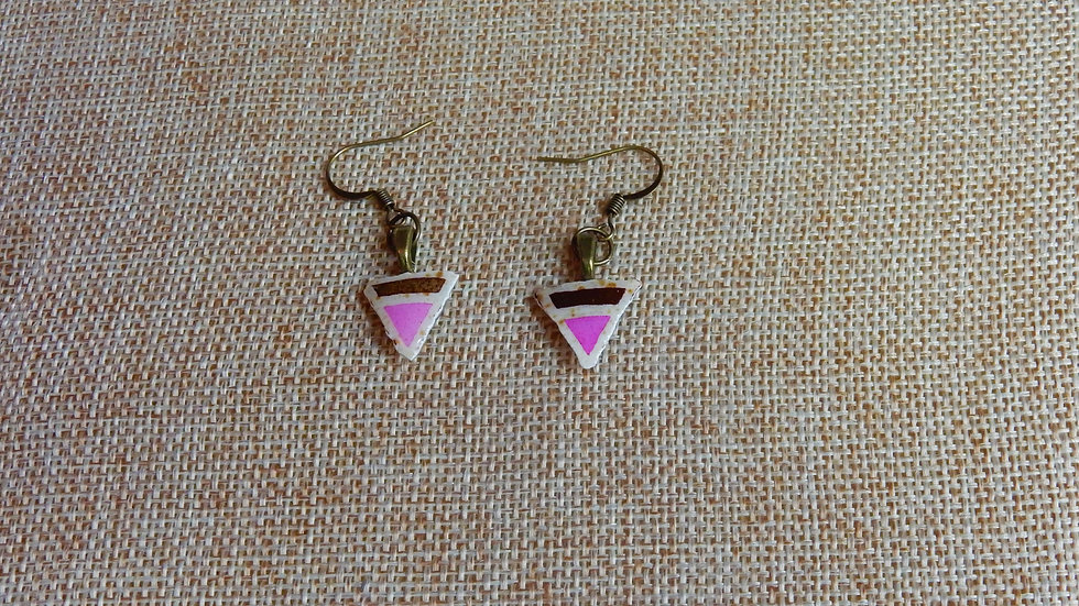 Pink Brown Triangle Earrings