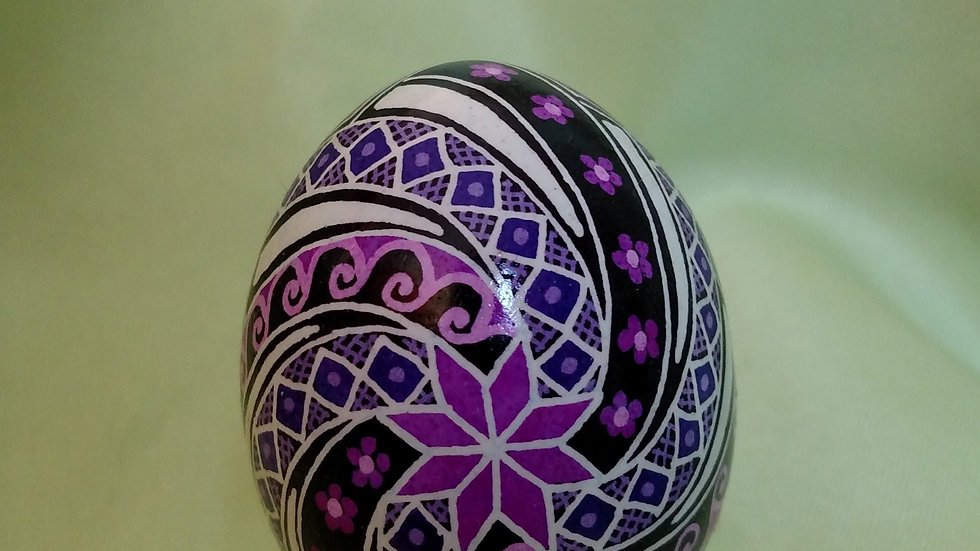 Purple Windmill of Joy - Chicken Egg Pysanky