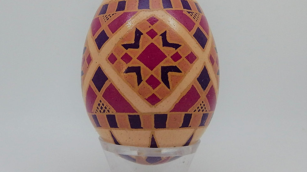 Cross on Brown Chicken Egg Pysanky