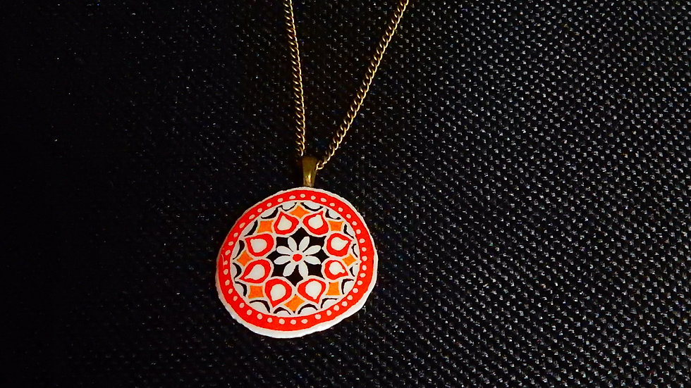 Red and Gold Mandala Style Pendant