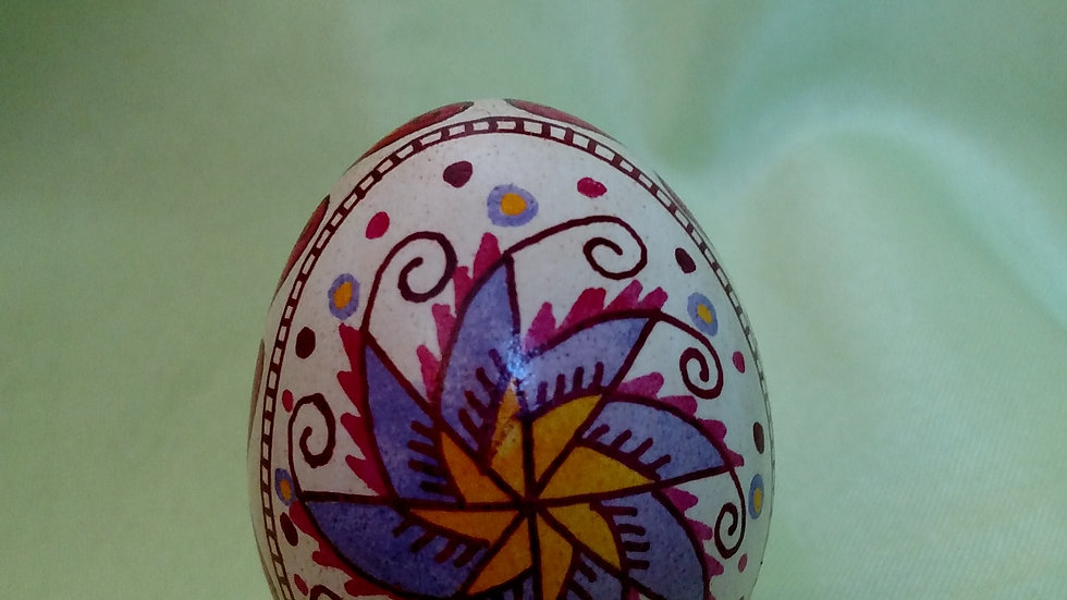 Hearts and Flowers - Chicken Egg Pysanky