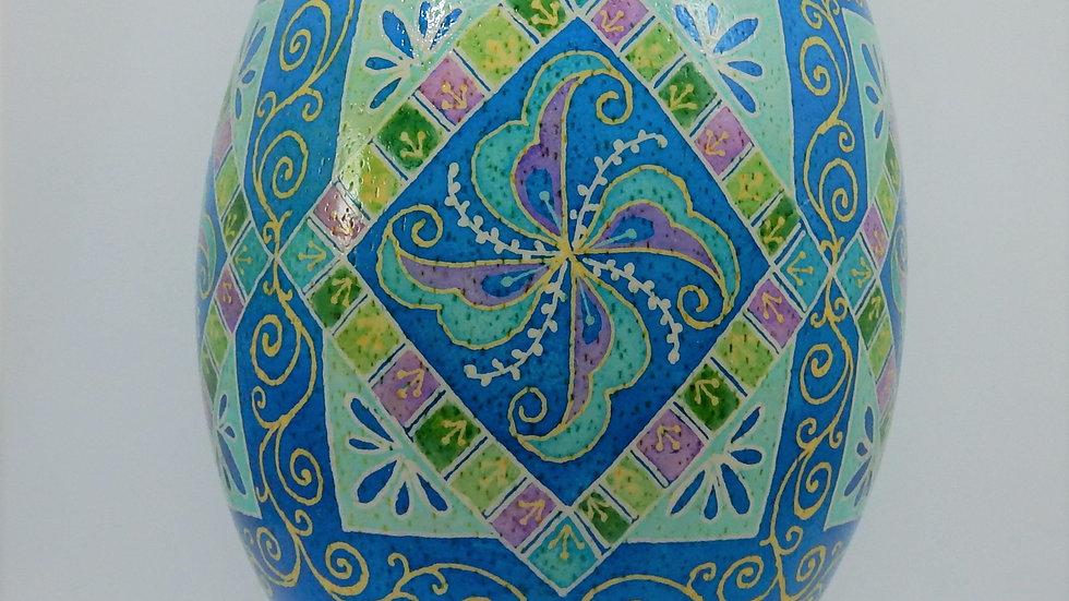 Blue Rooster Tail - Rhea Egg Pysanka