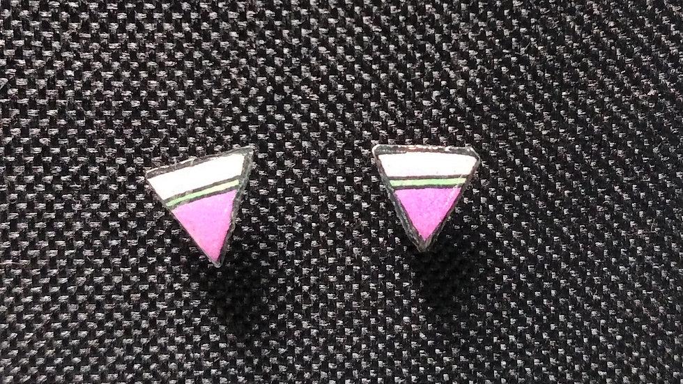 Pink Purple Triangle Post Earrings