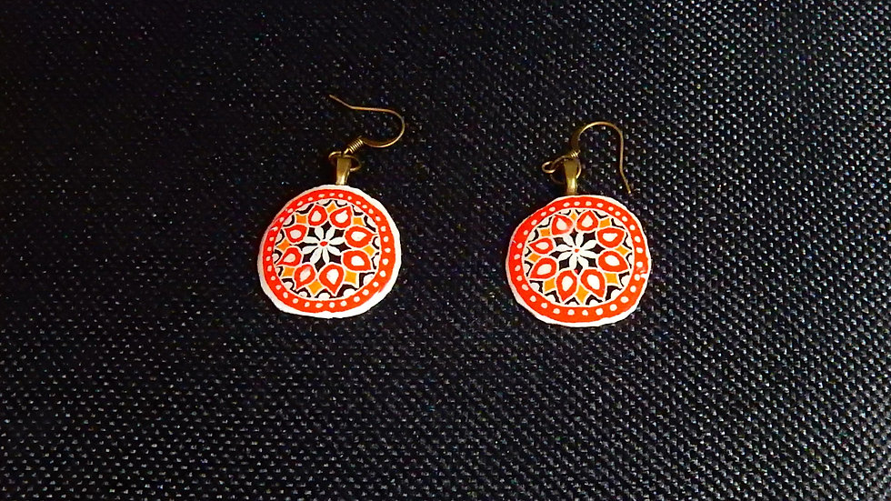 Red and Gold - Mandala Style Earrings