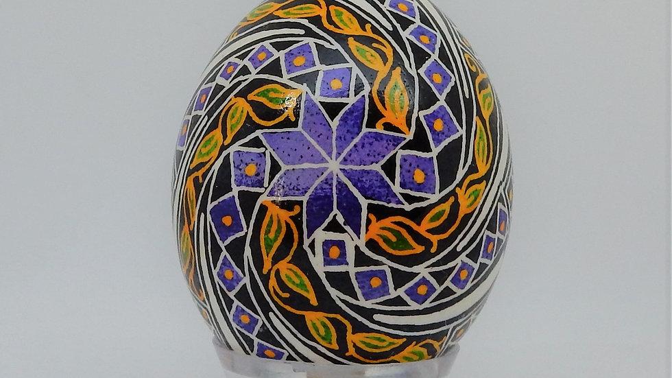 Purple Windmill Chicken Egg Pysanky