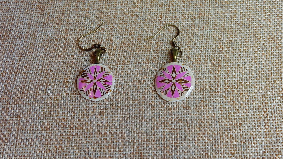 Pink Brown Star Earrings