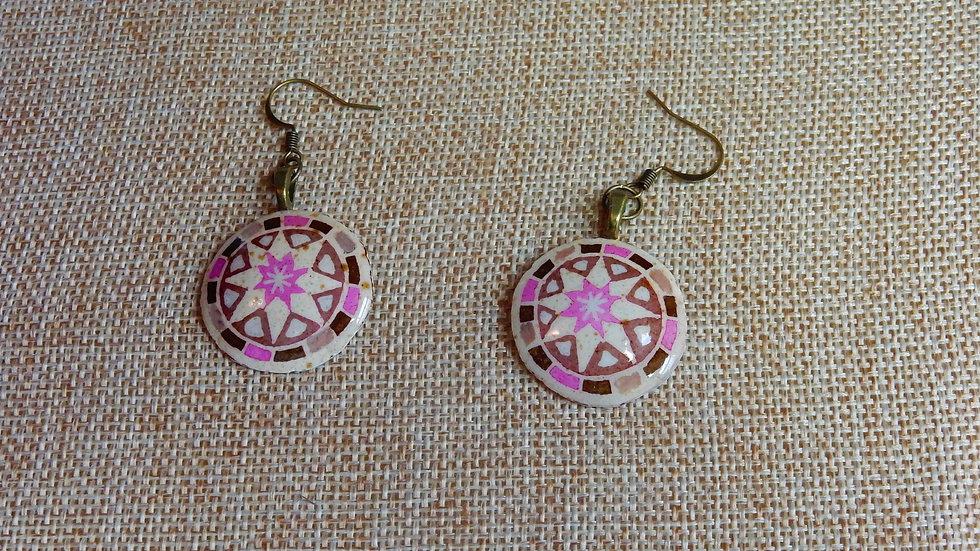 Pink Brown Tan Earrings