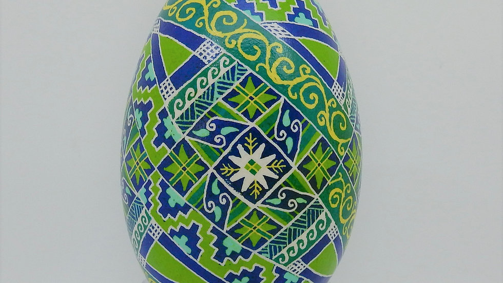 Blue and Green Goose Egg Pysanky