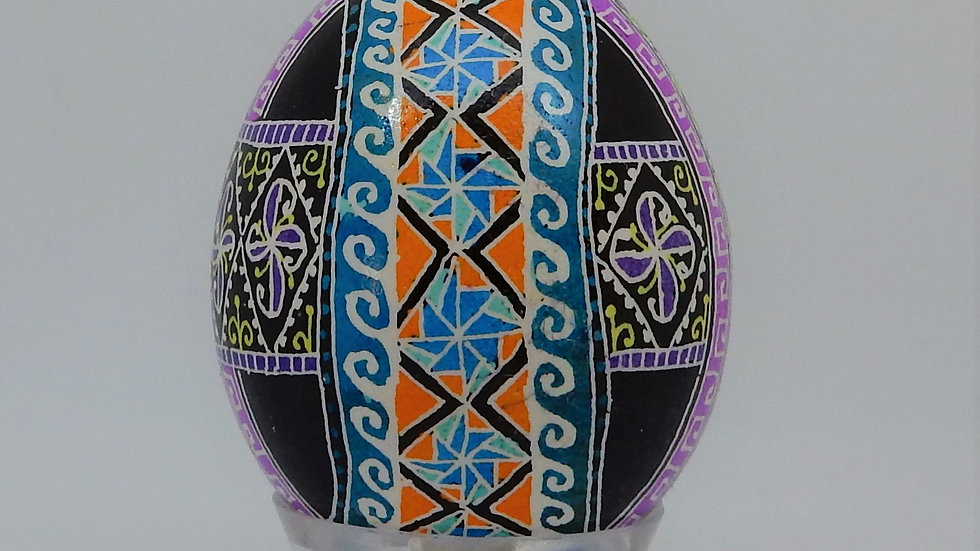 Three Ribbons Chicken Egg Pysanky