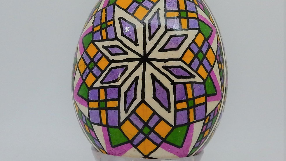 Brilliant Star Chicken Egg Pysanky