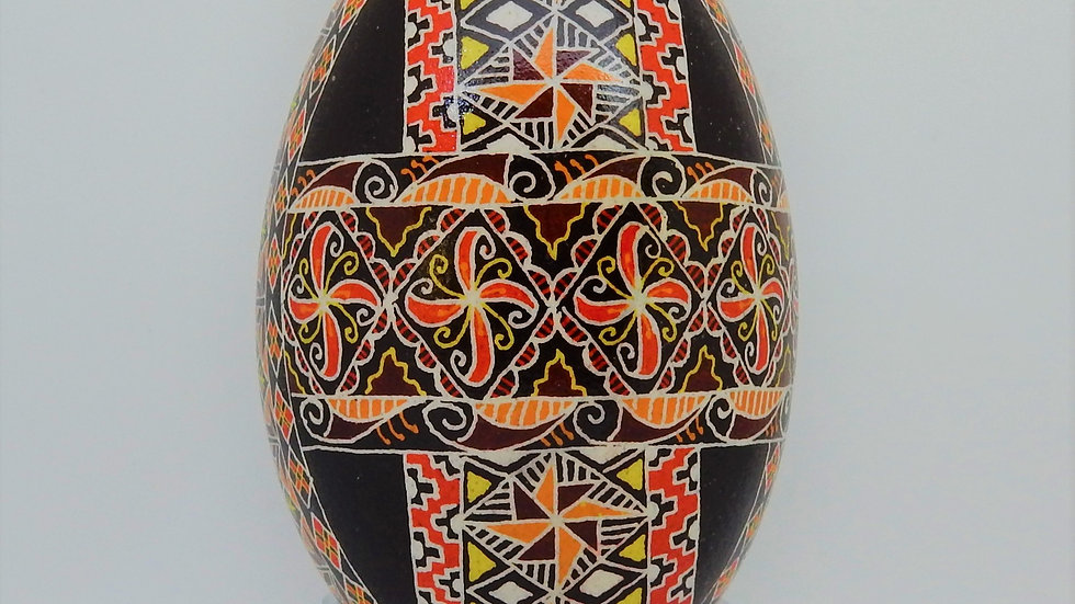 Three Ribbon (Traditional) Goose Egg Pysanky
