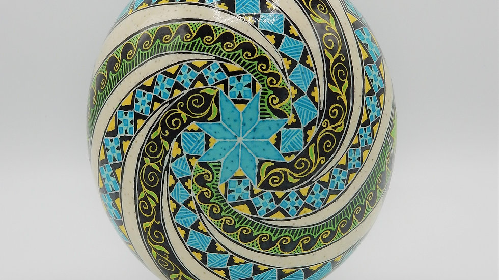 Windmills of Joy - Ostrich Egg Pysanka