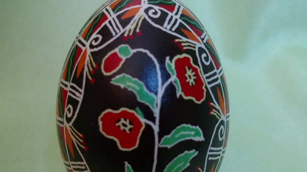 Poppies - Chicken Egg Pysanky