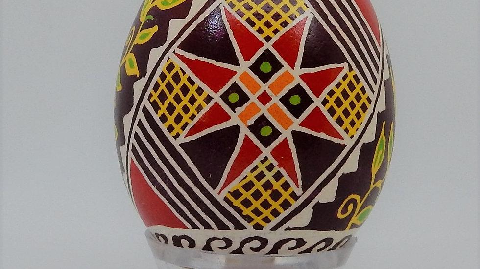 Cross and Vine Chicken Egg Pysanky