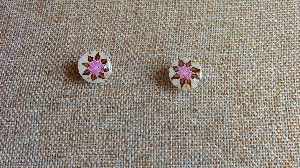Pink Brown Star Post Earrings