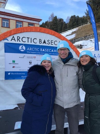 Johan Rockström, a renowned climate scientist and Sandrine Dixson-Declève, the Co-President of the Club of Rome, with our Co-Founder and Executive Director Inge Relph. Taken after the event 'Planetary Emergency Risk: Incorporating impact of climate risk into business models' at the Arctic Basecamp.