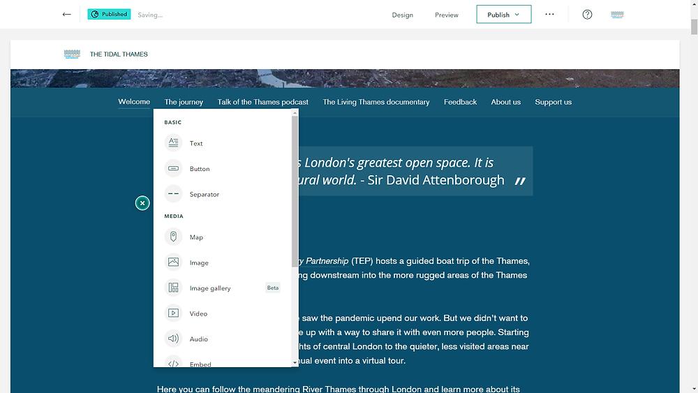 Screenshot of the ArcGIS StoryMap interface