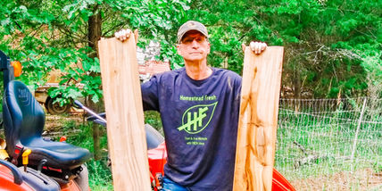 Jeff showing of his milled white pine.