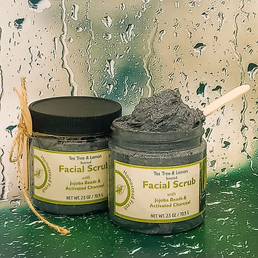 Facial Scrub activated charcoal jojoba beads tea tree essential oil