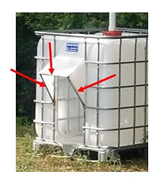 door cut in IBC tote for goats