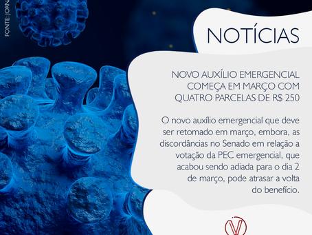 Novo auxílio emergencial começa em março com quatro parcelas de R$ 250,00