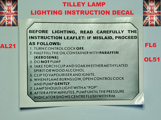 TILLEY LAMP DECALS STICKERS