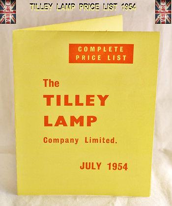 TILLEY LAMP COMPLETE PRICE LIST 1954