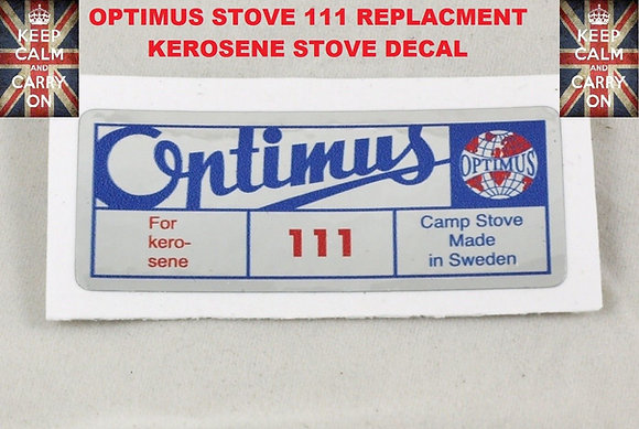 OPTIMUS STOVE 111 KEROSENE REPLACEMENT DECAL