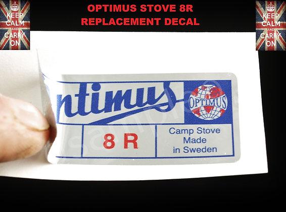 OPTIMUS STOVE 8 R REPLACEMENT TIN BOX DECAL