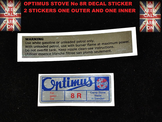 OPTIMUS STOVE 8 R DOUBLE REPLACEMENT DECAL