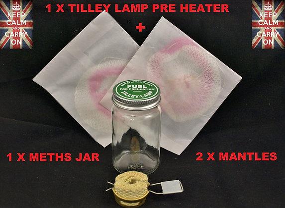 TILLEY LAMP PRE HEATER + JAR + MANTLES