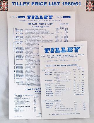 TILLEY LAMP PRICE LIST
