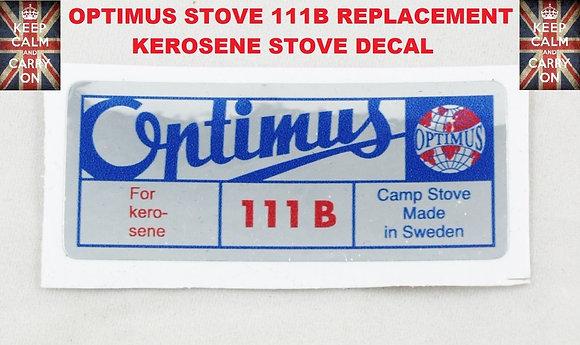 OPTIMUS STOVE 111B KEROSENE REPLACEMENT DECAL