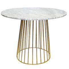 Mesa comedor mármol y patas doradas