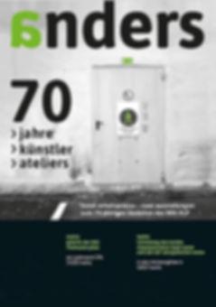 """Plakat """"anders - 70 jahre - 70 künstler - 70 ateliers"""", jubiläumsausstellung zum 70-jährigen bestehen des bbk rlp, mainz. 70 kunstarbeitsplätze - zwei ausstellungen in mainz und berlin"""