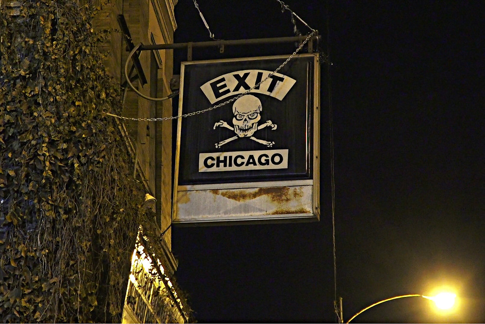 Outside EXIT nightclub at night