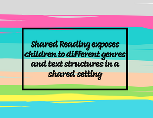 Shared Reading exposes children to different genres and text structures in a shared setting