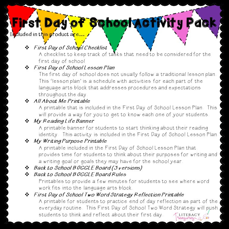 First Day of School Lesson Plan and Activities for Language Arts