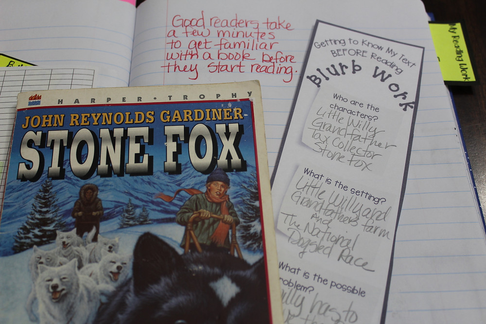 Blurb Work in a student Reader's Notebook
