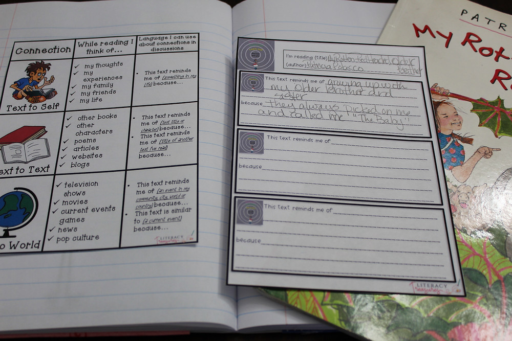 readers notebook work for making connections