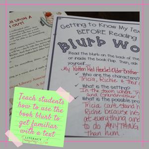 Blurb Work modeled by the teacher