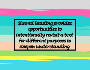 Shared Reading provides opportunities to intentionally revisit a text for different purposes to deepen understanding