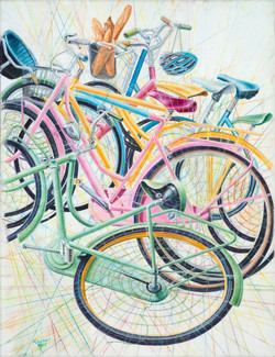 Bicycles And Baguette by Alan Ewart