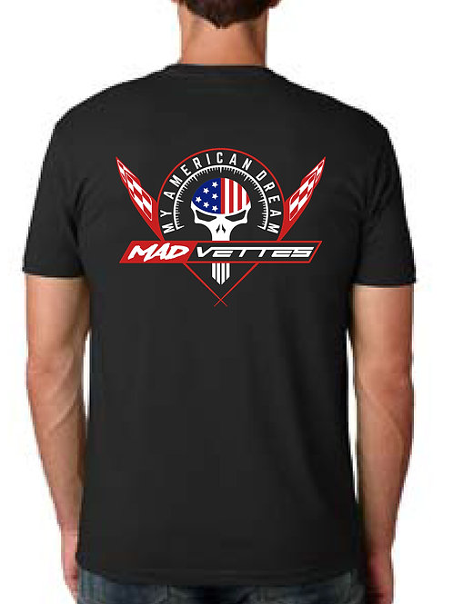 Black Shirt with Red, White & Blue Logo Back, MAD Vettes Front Left