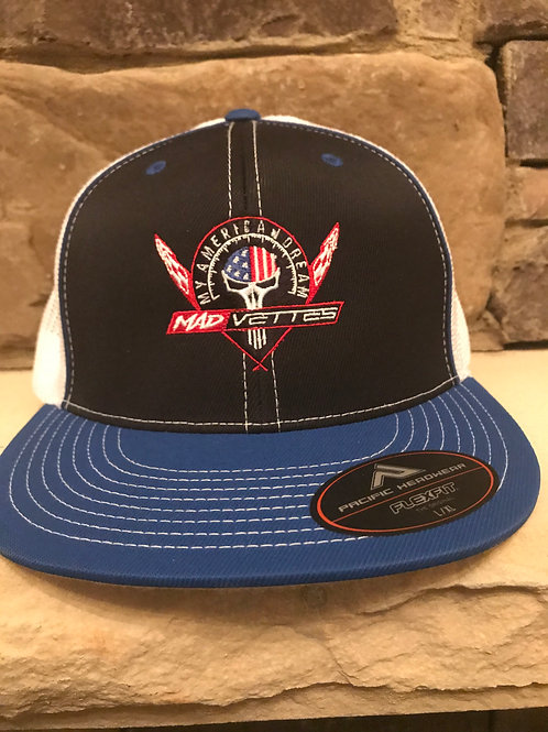 Fitted Mesh Black/Royal MAD Vettes Logo