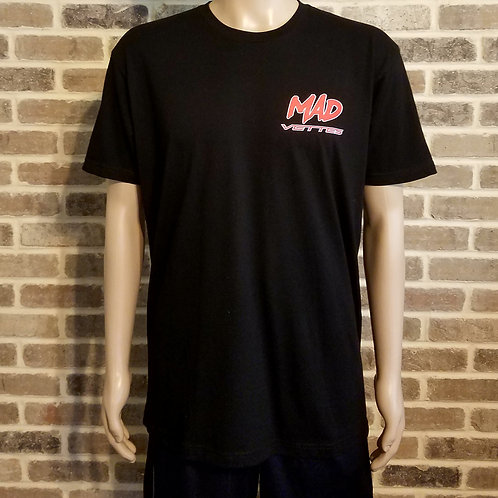 Black T-Shirt with Red & White MAD Vettes Logo