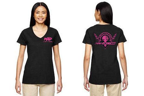 Ladies Black T-Shirt with Pink MAD Logo