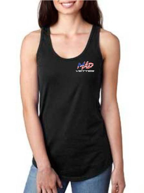 Ladies Black Razor Back Tank with MAD Vettes on Front Left