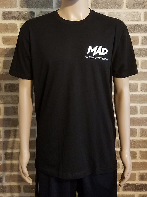Black T-shirt with White MAD Vettes Logo